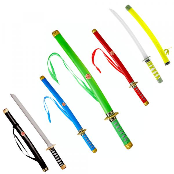 XXL 5er SET Ninja Katana - schwarz, gelb, rot, grün, blau - ideal für jeden japanischen Krieger der Nacht, jedes Schwert ca. 60cm lang, Kunststoff