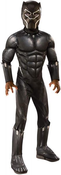 Black Panther Kostüm  Deluxe | 2-teiliges Set: gepolsterter Overall mit Stiefeloberteilen & Maske |