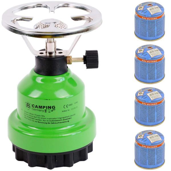 Campingkocher E190 Gaskocher Metall mit 4X Gas in Verschiedenen Farben (Grün)