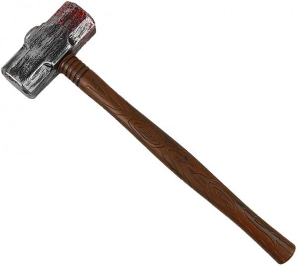 Blutiger Hammer aus Kunststoff | Karnevalskostüm | Fasching | Holzoptik | Accessoire | Mottoparty | Halloween | Vorschlaghammer | 52cm