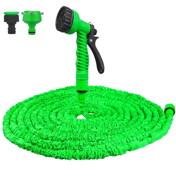 Flexibler Gartenschlauch mit Sprühpistole | dehnbarer Schlauch + Sprühaufsatz mit 7 unterschiedlichen Sprüharten | vielseitige Schlauchdüse | perfekt für jeden Garten | knotenfreies Giesen | 15 Meter