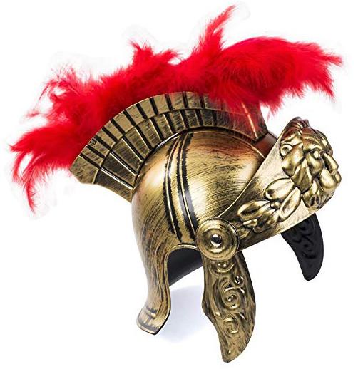 Römer Helm | Antikgold mit Roten Irokese
