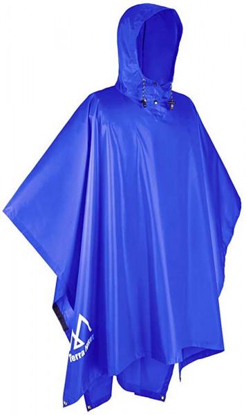 Regenponcho in blau | 3 in 1 Regenmantel | für Camping und Wandern | multifunktionaler Regenmantel | sehr wasserdicht