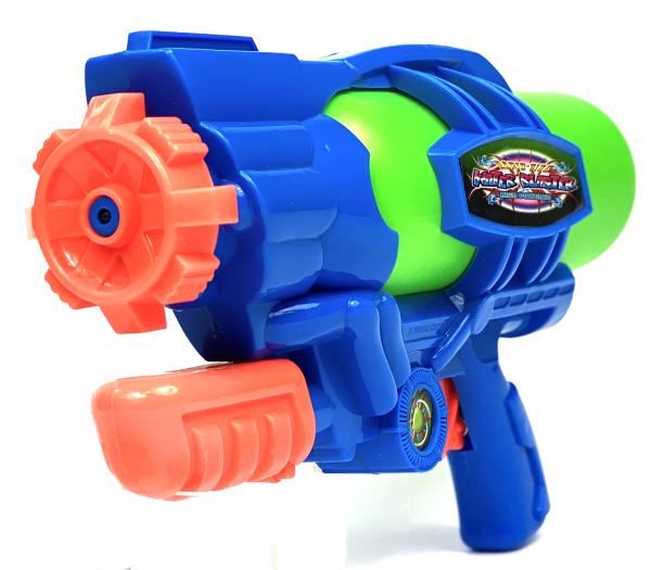 Wasserpistole - Spritzpistole mit 29cm Länge | XL Tank | tolles blau-silber Wassergewehr für mega Wasserschlachten und Pool-Partys |