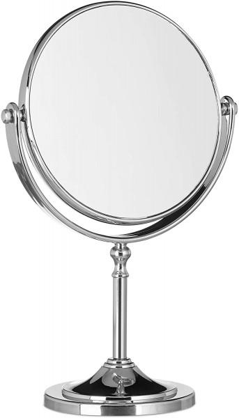 Kosmetikspiegel Vergrößerung, Schminkspiegel stehend, rund, zweiseitig HBT: 28x18x10cm