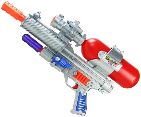 Space Wars Wasser-Pistole Kinder-Spielzeug Chrome Rot Silber Wasser-Spritze Sommer-Spielzeug Spielzeug-Pistole Wasser-Gewehr Aqua-Gun Pool-Kanone Planschbecken-Pistole Garten-Party Spielzeug-Waffe Swimming-Pool-Gun