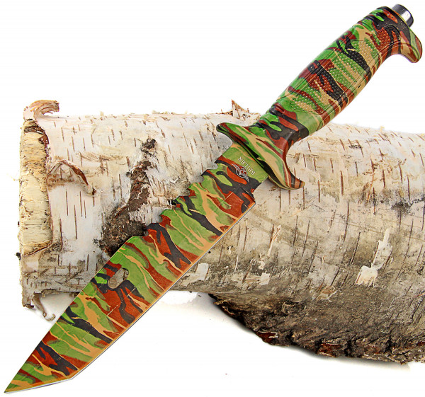 Jagd-Messer Camouflage wood mit American Tanto Klinge Camping Gürtelmesser für Outdoor und Survival inkl. Gürtelholster 34,5 cm