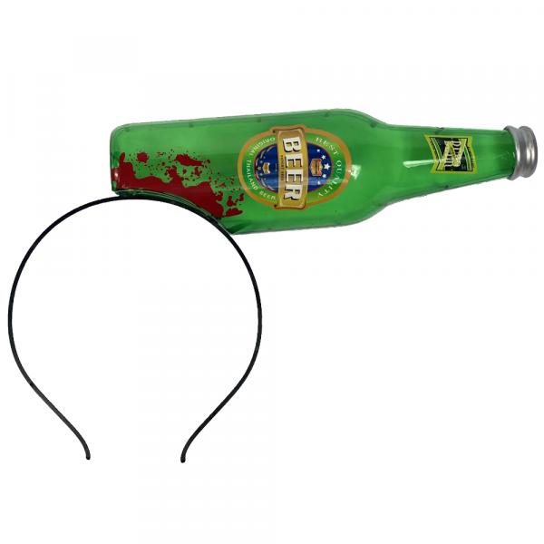 Bierflasche zerbrochen im Kopf steckend | Scherzartikel | Blut verschmierte Horror Bier-Flasche | Walking Dead Zombie
