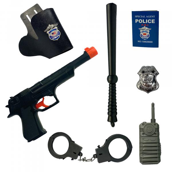 Polizei Kostüm Spielzeug 7-teiliges Set | ideal Kinder für Karneval & Fasching | Pistole, Holster, Schlagstock, Handschellen, Notizbuch,  Funkgerät, Marke