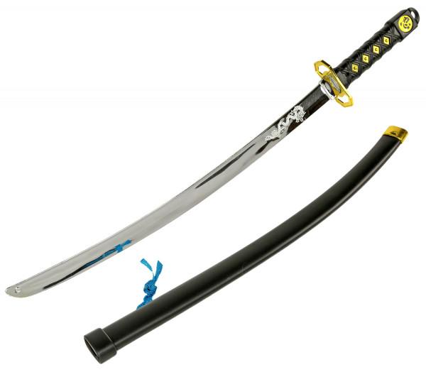 Ninja Katana Samurai japanisches Schwert - schwarz 70cm, Erwachsene, Verkleidung, Fasching, Karneval & Halloween, Kunststoff Spielzeug Kostüm Zubehör