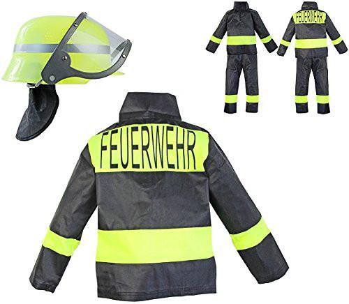 Feuerwehr Kostüm Set für Kinder | 3-teilig: Helm, Jacke, Hose | ideal für Karneval & Fasching | Jungen & Mädchen |