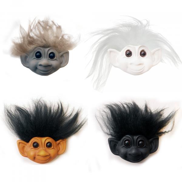 Trolls World Tour Kühlschrank Magnet im 4er Set   Lizenzprodukt von Dreamworks zum Kinofilm   4cm Durchmesser   Sammelfigur aus Keramik mit echtem Schaafshaar    Deko, Spielzeug, Geschenk  
