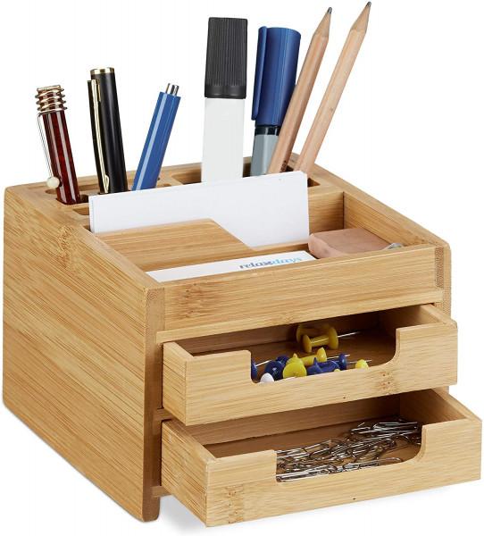 Schreibtisch Organizer Bambus | Stiftehalter Holz-Schubladen | HxBxT: 9,5 x 12,5 x 15cm | Natur