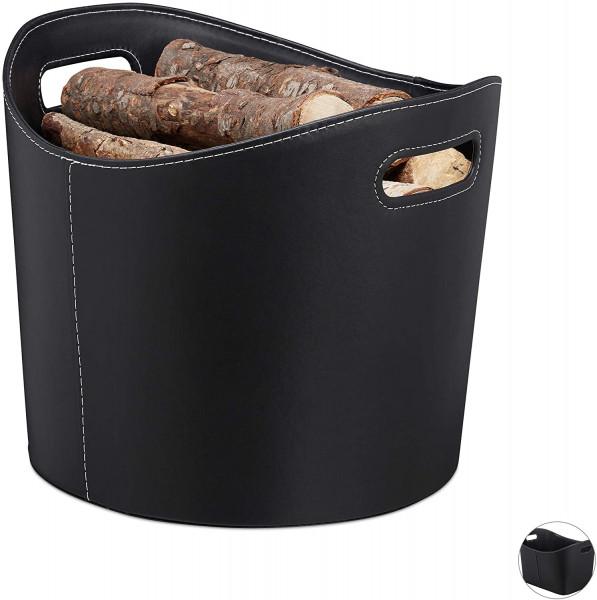 Stabiler Feuerholzkorb mit Tragegriffen | Kunstleder und robust | ideal für das stilvolle Transport und das Lagern von Holz