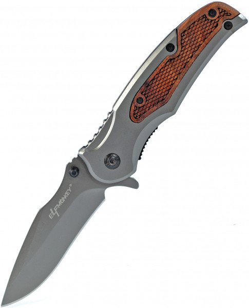 Klappmesser mit Holz Verzierung | Survival Outdoor Taschenmesser | Einhand-Rettungsmesser 22cm Länge