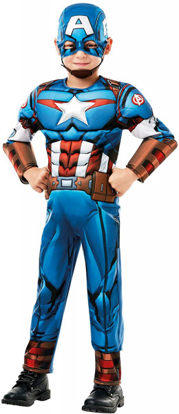 Captain America Kostüm | 2-teilig: Overall mit Muskeln aus Schaumstoff & Maske mit Kinngurt | Kinder
