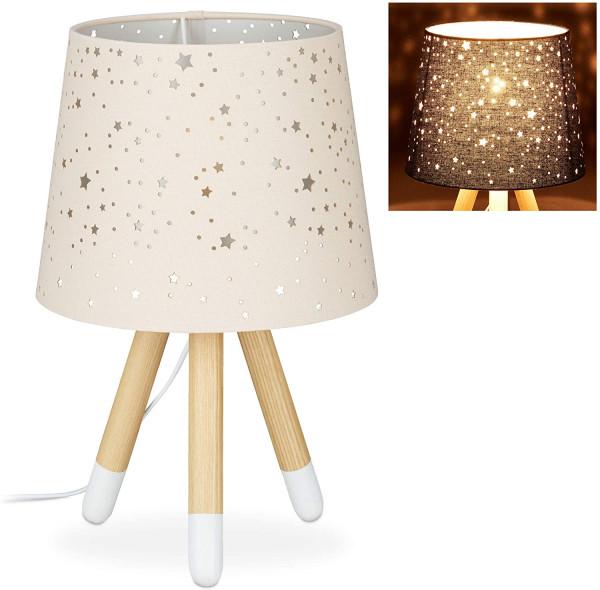 Tischlampe Kinderzimmer, Nachttischlampe, E14, runder Stoffschirm mit Sternen, 40 cm hoc