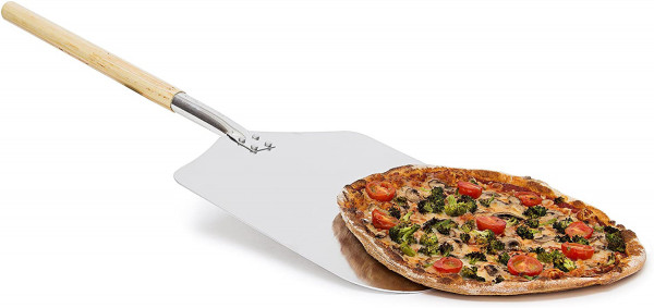 Eckige Pizzaschaufel, Aluminium Pizzaschieber | Holzgriff, Brotschieber | HBT: 3x30,5x79cm