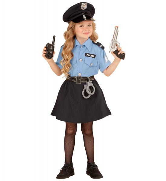 Polizistin & Politesse Kostüm  | 4-teiliges Set: Bluse, Rock, Gürtel & Kappe | Mädchen & Jugendliche