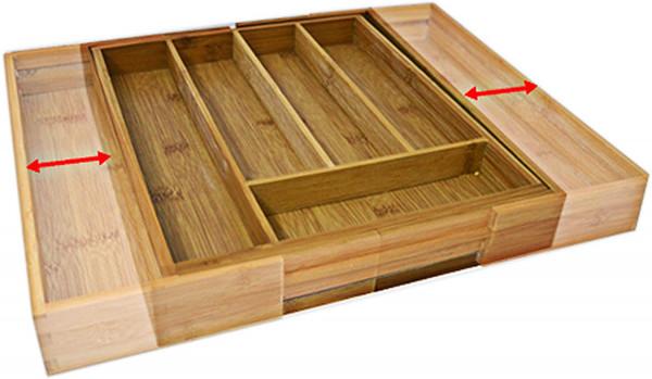 Besteckkasten Bambus | ausziehbarer Besteckeinsatz | Schubladeneinsatz 33,5 x 29-48 cm | Küchenorganizer Lade Küche Ordnung Besteck Einsatz