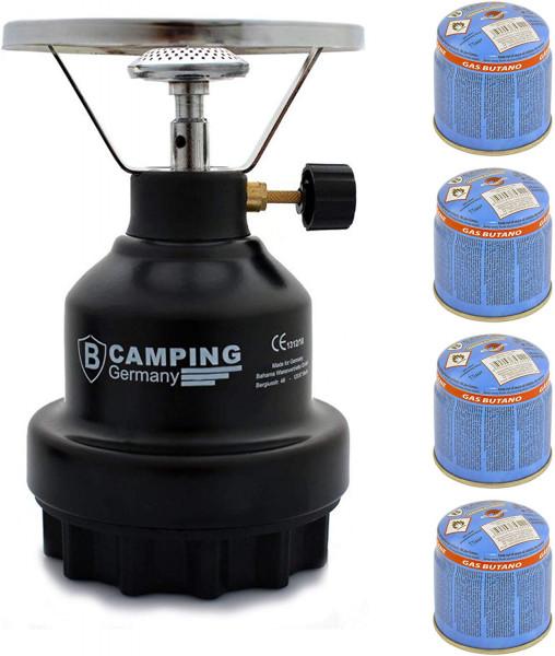Campingkocher E190 Gaskocher Metall mit 4X Gas