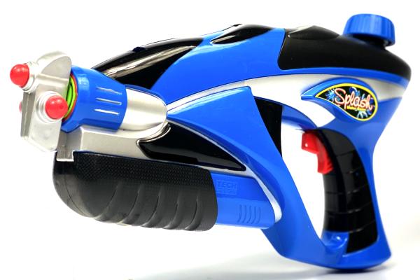 Wasserpistole - Spritzpistole mit 34cm Länge | Tank | tolles blau-silber Wassergewehr für mega Wasserschlachten und Pool-Partys |