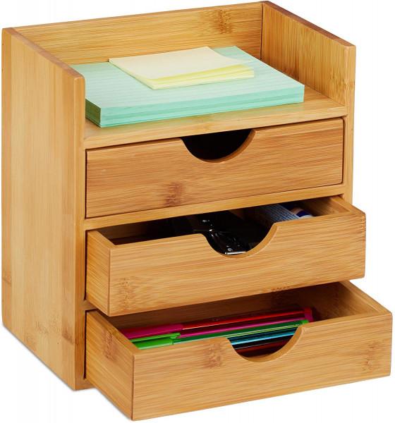 Schreibtisch Organizer | Ablage mit 3 Schubladen | Büroutensilien aus Bambus | Schubladenbox HBT: 21x20x13