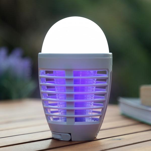 Wiederaufladbare 2 in 1 Anti-Mücken-Lampe | LED Lampe mit Insektenschutz | Insektenabwehr | Insektenvernichter | Mückenschutz | Moskito-Lampe | Mückenschutz | Fliegenschutz | insektenfreie Sommernächte | Campinglampe | Outdoorleuchte | Wanderurlaub