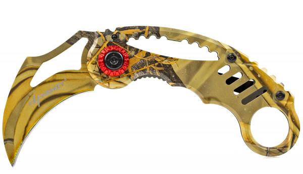 Karambit Messer Gelb CS-GO Skin Klappmesser extra Scharf Taschenmesser Einhandmesser Rettungsmesser Angelmesser Jagdmesser Survival Outdoor