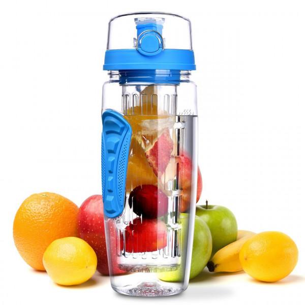 Trinkflasche 1 Liter Fruit Infuser Sports Trinkflasche Water Bottle Tritan BPA-frei Kunststoff Flasche mit Rezept und Pinsel (Blau)