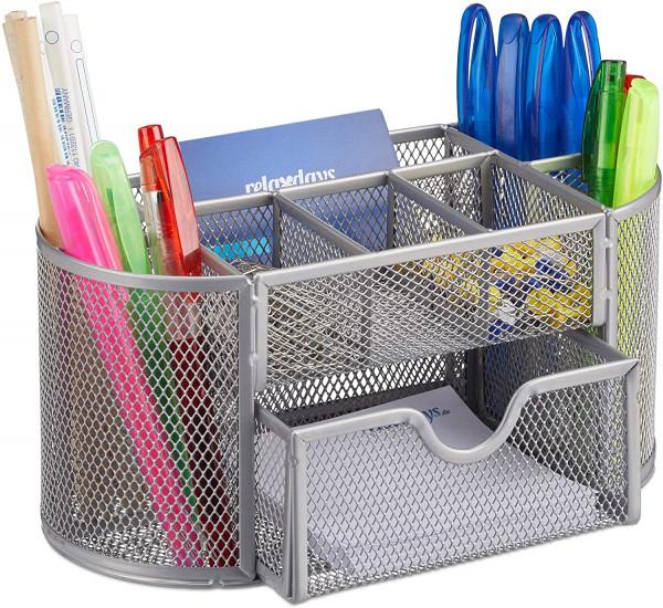 Schreibtischorganizer, Büroablage mit Stiftehaltern & Schublade, Metall Mesh, HBT: 10,5 x 22 x 11 cm