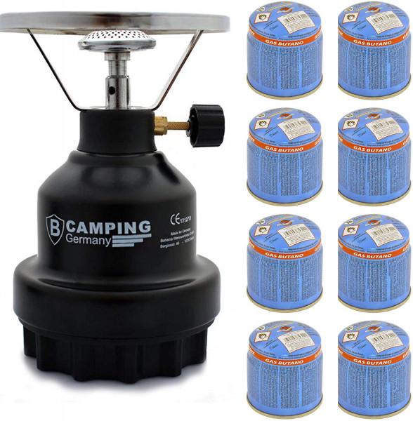 Campingkocher E190 Gaskocher Metall Schwarz mit 4X Gas (Schwarz 8)