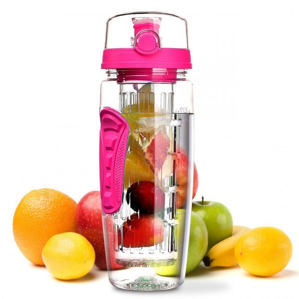 Trinkflasche 1 Liter Fruit Infuser Sports Trinkflasche Water Bottle Tritan BPA-frei Kunststoff Flasche mit Rezept und Pinsel (Rot)