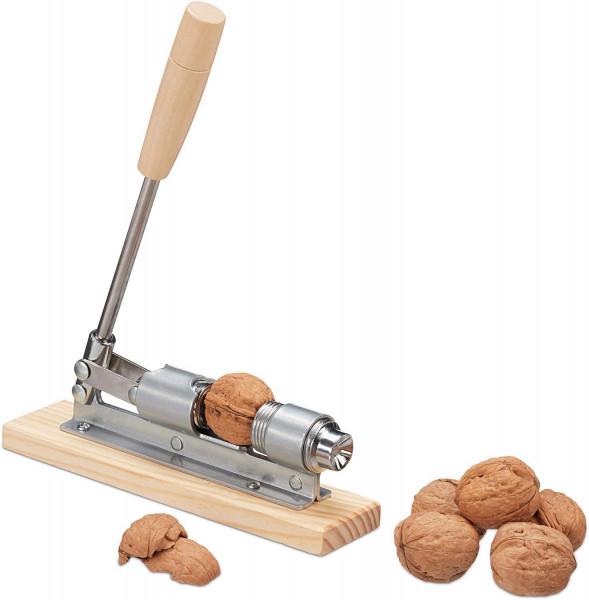 Nussknacker Holz | Silber/Natur Retro | größenverstellbar, kraftsparend Nüsse öffnen, Hebel, Metall