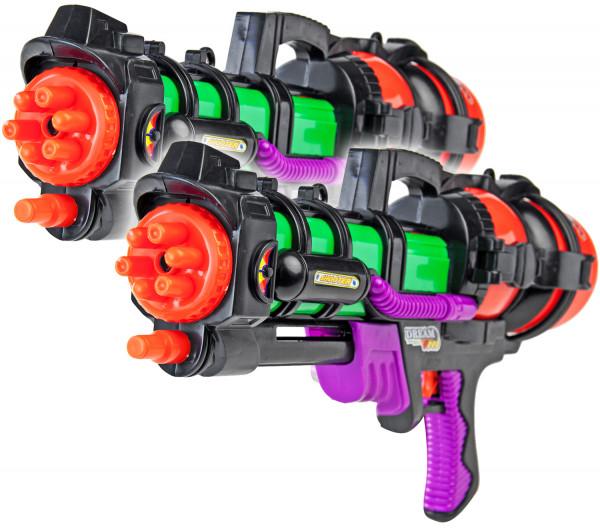 2x Space Wasser-Pistole Kinder-Spielzeug 60cm Schwarz Grün Rot Lila Wasser-Spritze Sommer-Spielzeug Spielzeug-Pistole Wasser-Gewehr Aqua-Gun Pool-Kanone Planschbecken-Pistole Garten-Party Spielzeug-Waffe Swimming-Pool-Gun