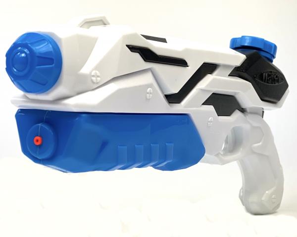 Wasserpistole - Spritzpistole mit 40cm Länge | XXL-Tank | tolles blau-weisses Wassergewehr für mega Wasserschlachten und Pool-Partys |
