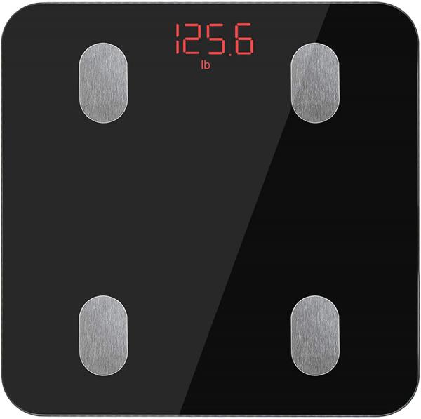 Körperfettwaage, Bluetooth Personenwaage mit App, Smart Digitale Waage für Körperfett, BMI, Gewicht, Muskelmasse, Wasser, Protein, Skelettmuskel, Knochengewicht, BMR (Schwarz)