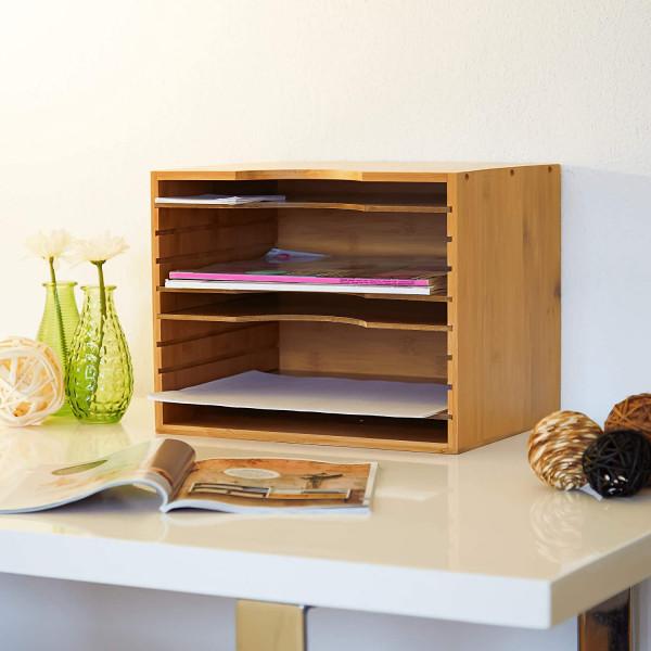 Briefablage aus Bambus | HBT 26 x 33 x 24,5 cm | Ablagesystem für den Schreibtisch | Dokumentenablage