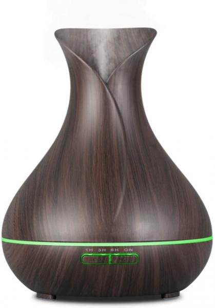 Aroma Diffuser | Luftbefeuchter | Ätherische Öle | Düfte | Ultraschall | optimal für Schlafzimmer | Holzmaserung | Aidodo Omasi | 400ml | dunkelbraun