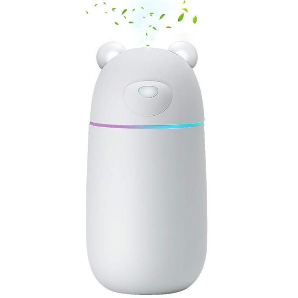 Mini USB Luftbefeuchter Cool Mist Ultraschall Kerzenform Luftbefeuchter tragbar Eisbär Diffusor Aromatherapie Aroma Diffuser für Büro zu Hause und im Auto-grau