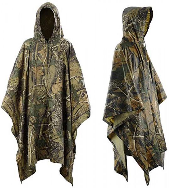 Regenponcho in Tarnfarben | für Jagd oder Camping | Outdoor Regenschutz | mit Kapuze | Poncho | vielseitiger Schutz vor Regen | Regenjacke