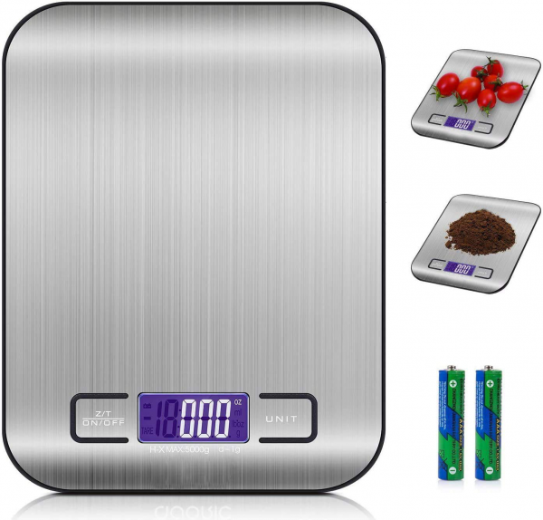 Digitalwaage Professionelle Elektronische Waage, Küchenwaage mit LCD Display- Präzision von 1g bis 5kg Maximalgewicht -metallisch