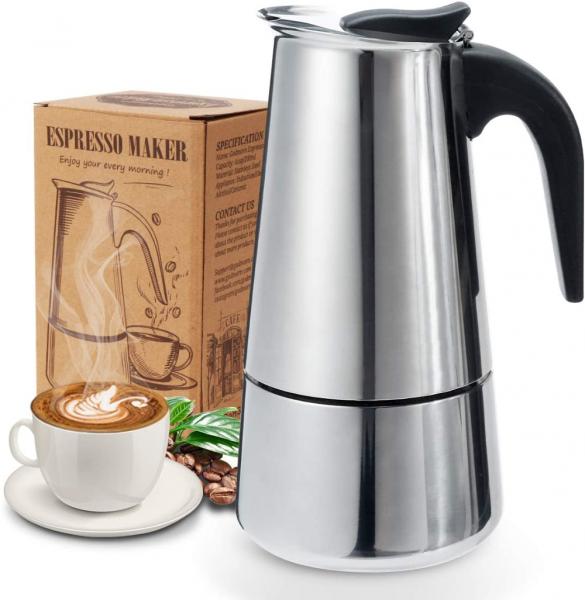 Espressokocher   Kaffeekocher   Mokkakanne aus 430 Edelstahl   Espresso Maker 6 Tassen   300 ml.   Stovetop Coffee Maker   für Induktionsherde geeignet