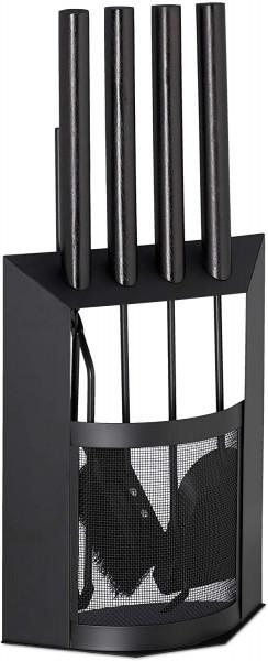 Kaminbesteck, 5-teilige Kamingarnitur mit Schaufel, Besen, Haken, Zange & Halter, Holzgriffe, modern