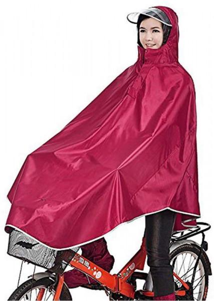 Regenponcho für Fahrrad oder Camping | rot | mit Kapuze | Oxford-Gewebe | wasserabweisend
