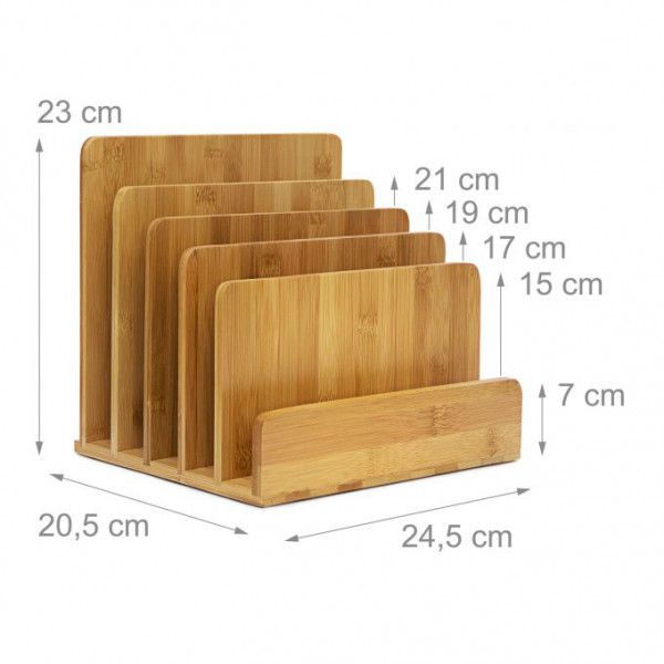 Dokumentenhalter aus Bambus | 5 Fächer ideal für Prospekte, Zeitschriften, Briefablage |  HBT: ca. 23 x 24,5 x 20,5