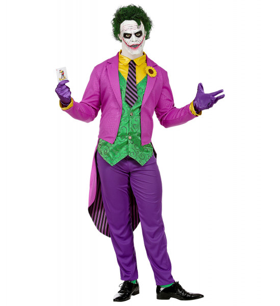 Joker Kostüm | Clown Kostüm 4-teilig | Kostüm aus berühmten Comic und Film | Halloween- Karneval u. Mottoparty