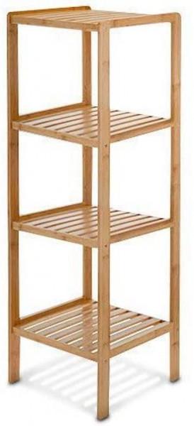 Badregal Bambus HBT: 110 x 33 x 33 cm Schickes Bambusregal I 4 Ablagen aus natürlichem Holz Standr
