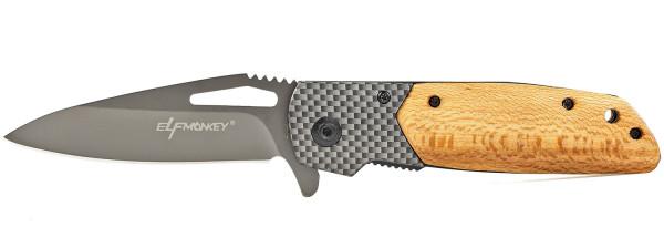 Taschenmesser Klappmesser extra Scharf Einhandmesser Survival in einem Carbon Look mit Holz Griff