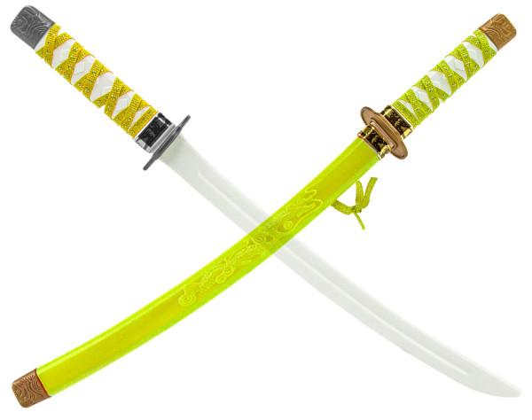 Ninja Katana Samurai japanisches Schwert - gelb, Kinder (Junge, Mädchen) Verkleidung, Fasching, Karneval & Halloween, Kunststoff Spielzeug Kostüm Zubehör